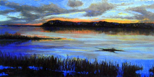 pastel painting of twilight on blackfish creek in wellfleet on Cape Cod