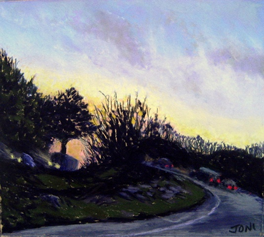 pastel painting, driving through Connecticut, sunset