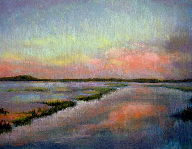 pastel landscape, twilight sky blue pink, tidal creek