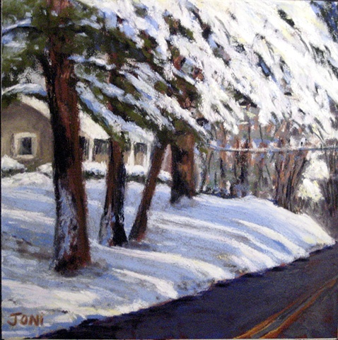 pastel painting, snow-covered landscape, winter road, snowy trees