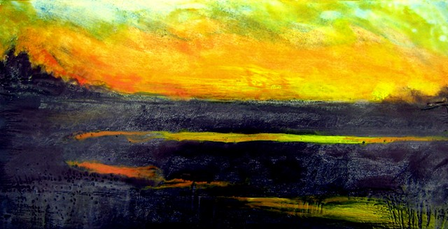 encaustic landscape, sunset, twilight scene