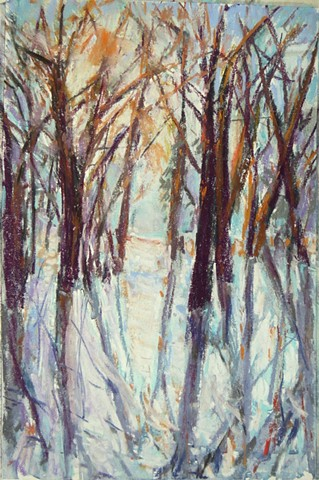 pastel landscape, trees, winter, snow, path in the woods
