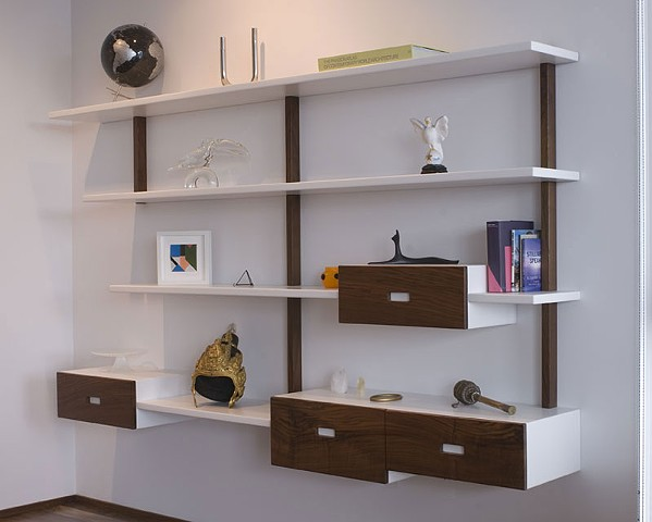 custom shelving unit with four drawers