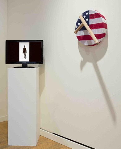 Nicholas Galanin My Ears Are Numb 2012 Drum, US Flag, Red cedar nightstick. For John T. Williams
