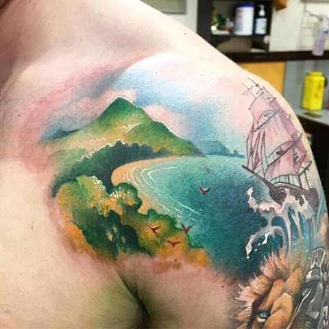 Colour Landscape tattoo by Daniel Danckert. Korpus Tattoo Studio, Brunswick