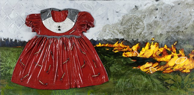 Mixed media dress painting red dress kathrine allen coleman blame the boys