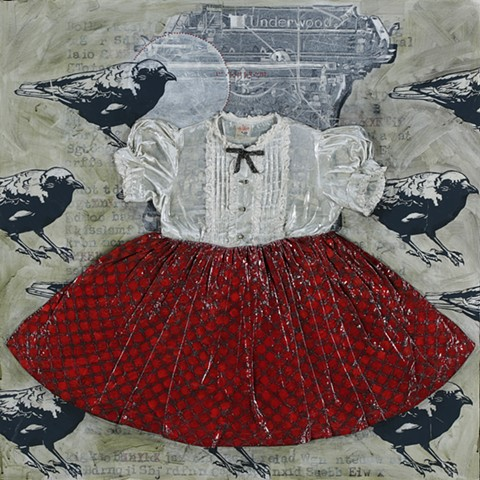 Dresspainting by Kathrine Allen-Coleman with crows or ravens and typewriter.