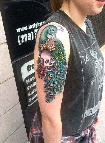 Traditional peacock tattoo by Cassandra Knox