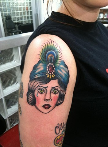 Gypsy girl tattoo by Cassandra Knox