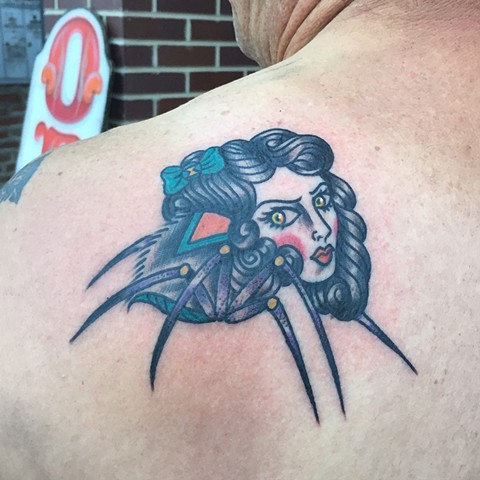 Black widow lady head tattoo by Cassandra Knox