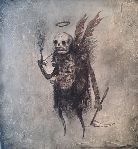 Angel of death, reaper, turnip, demon, artwork, painting