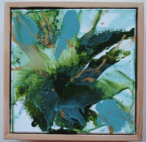 Square tabletop painting, framed, abstract