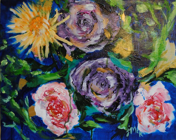 Floral acrylic painting on canvas