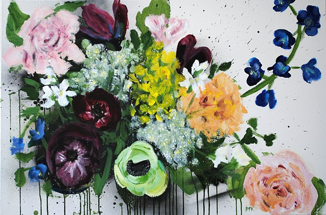 Acrylic floral painting on canvas