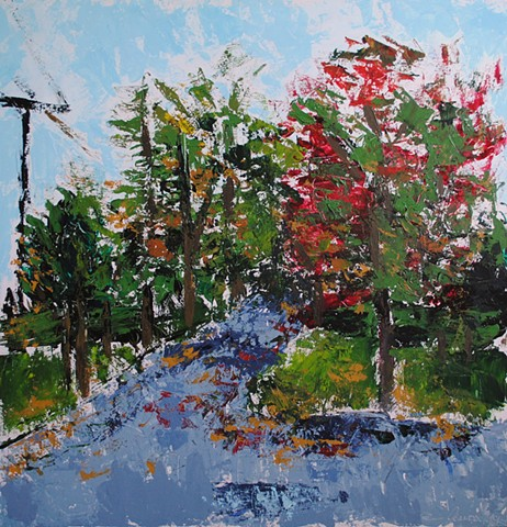 Acrylic landscape painting on panel with painting knife