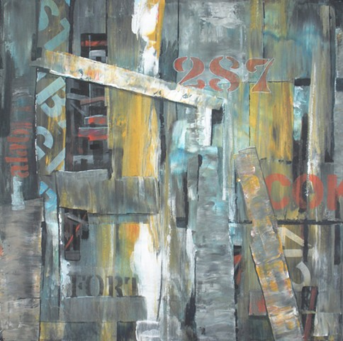 Acrylic on canvas painting composed of abstract shapes that look like barn boards with writing on themby Leslie J. Dulin.