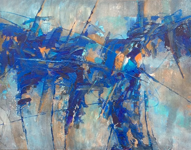 Abstract acrylic painting in black, gray, blue and orange with line work by Leslie J. Dulin.