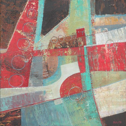 Abstract, geometric acrylic painting on canvas with circles and dots on red, brown and green by Leslie J. Dulin.