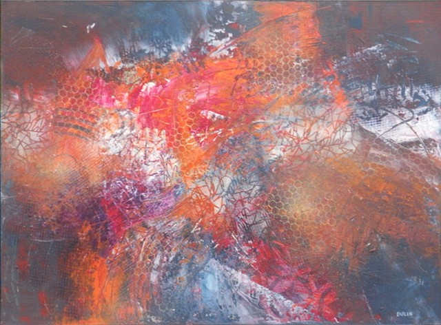 Abstract expressionist painting with patterns and warm red and blue on a dark gray background