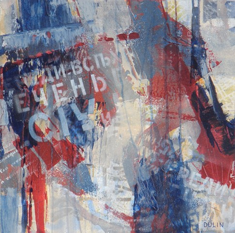 Abstract acrylic painting in red, white, blue and gray with stenciling by Leslie J. Dulin.