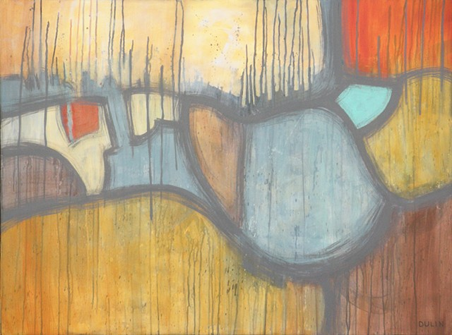 Abstracted landscape in acrylic on canvas with drips in yellow, blue, red, brown and gray by Leslie J. Dulin.