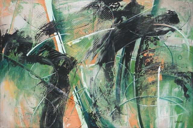 Abstract expressionist painting in bright greens, soft oranges and black