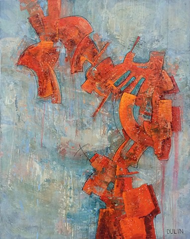 A large red, rusty abstract pile balances in front of a soft rainy blue, tan and green background in acrylic on canvas by Leslie J. Dulin.