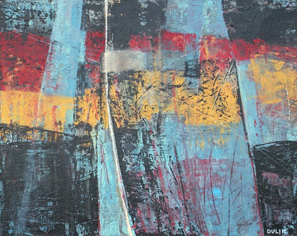 Abstract acrylic painting in black, red, blue and yellow with line work, midcentury look, by Leslie J. Dulin