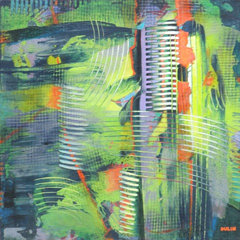 Abstract painting in acrylics in bright lime green and red-orange on purply gray and dark blue with lines of texture