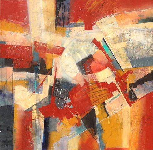 Abstract, non-representational painting in acrylic on canvas in reds, blacks, grays and yellows by Leslie J. Dulin.