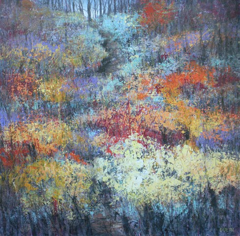 acrylic painting of a hillside path in Fall in blue, yellow, orange, red and black by Leslie J Dulin