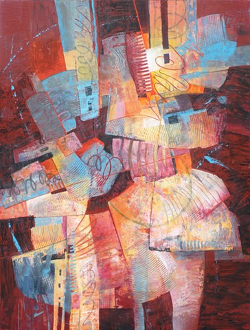 abstract design made up of shapes and patterns scratched into acrylic paint in red, blue, white, yellow and orange by Leslie J. Dulin.