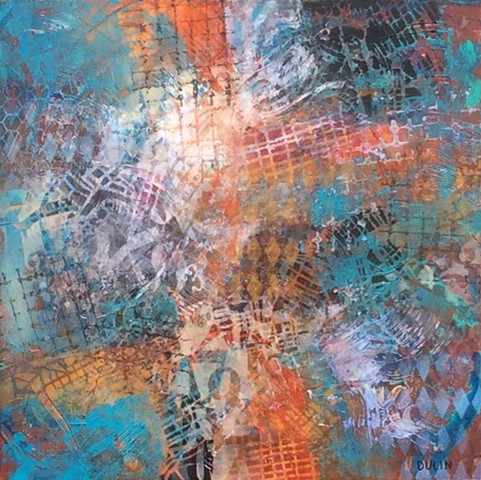 abstract acrylic on canvas made up of grids, lettering, stenciled pattern in black, blue, white, aqua and orange by Leslie J. Dulin