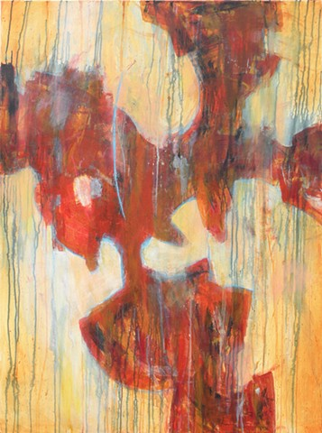 Abstract, nonrepresentational painting in acrylics on canvas in red, orange, yellow and blue by Leslie J. Dulin.