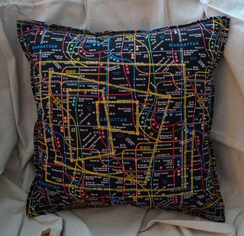 (Time Travel Pillows) Black/Subway, Large