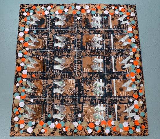 """Hands Squaring Off/ Space Quilt"""