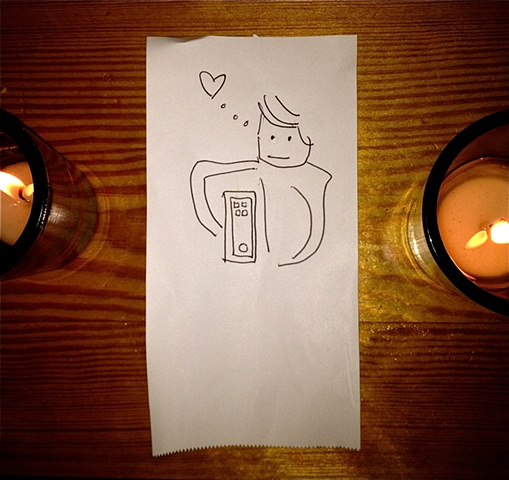 Jeb is in love w/ Siri. By candlelight.