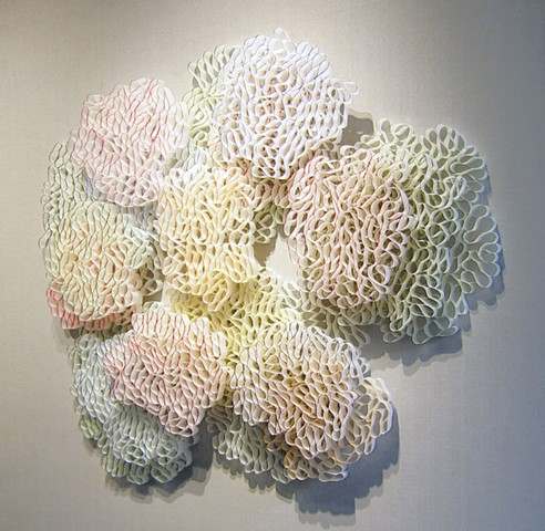 Paper sculpture installation about clouds by Shelley Gilchrist