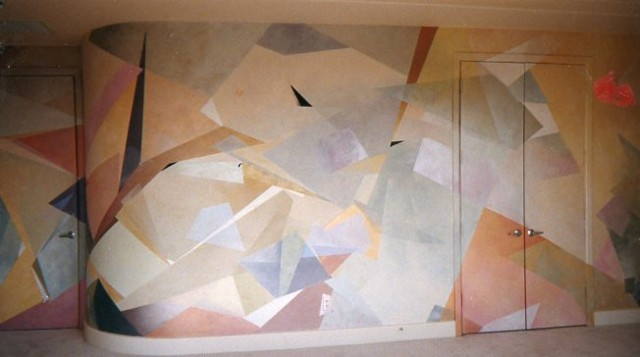 Geometric Mural in Frisco Residence