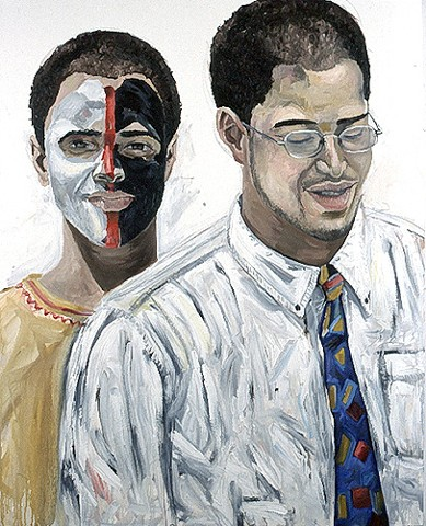 Michael Dixon self-portrait, racial identity, bi-racial art