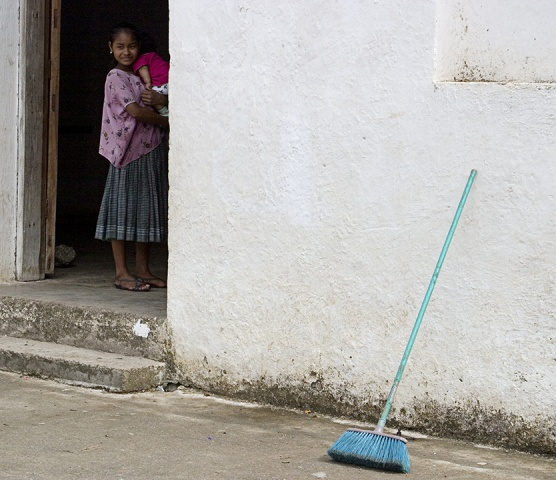 Guatemalan girl & blue broom