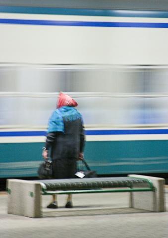 Italian Woman & Moving Train