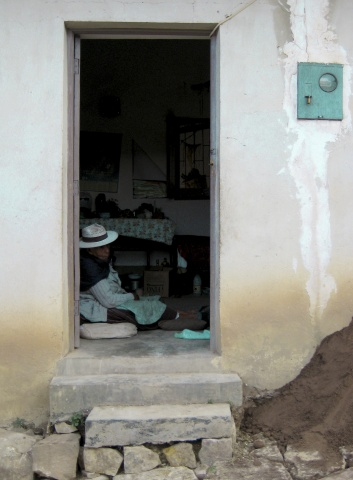 Elderly Bolivian Woman in Doorway