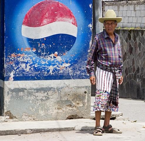 Guatemalan Man w/Pepsi Sign
