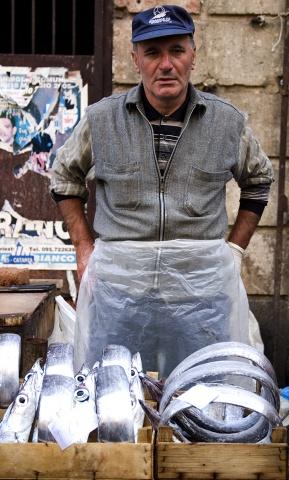 Sicilian Man Selling Fish