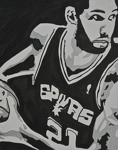 Tim Duncan of the San Antonio Spurs doing what he does best.