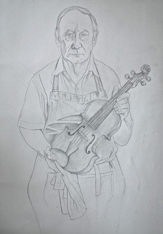 Study for Portrait of Nigel Harris, Violin maker.