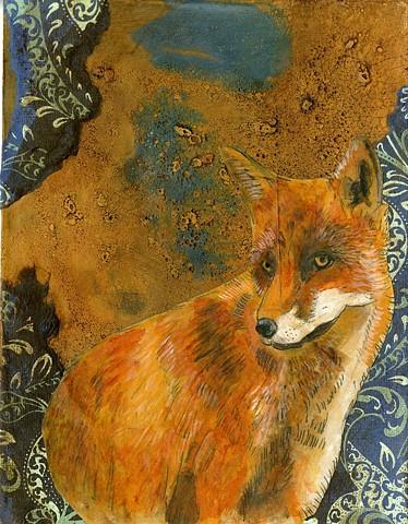 Fox, Painting, Illustration, Pattern