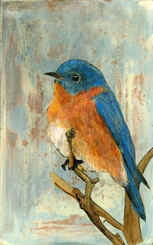 Nature, Blue Bird Painting, Mixed media, Illustration