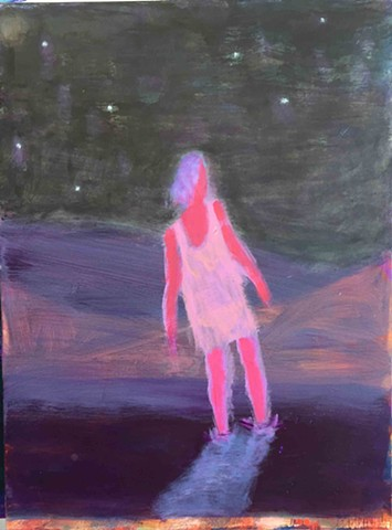 "Katherine Bradford Night Wanderer 40""x30""  acrylic on canvas"